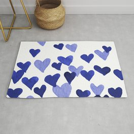 Valentine's Day Watercolor Hearts - blue Rug