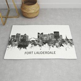 Fort Lauderdale Florida Skyline BW Rug