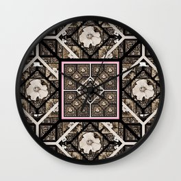 Cherokee Rose Pattern 1 brown and pink Wall Clock