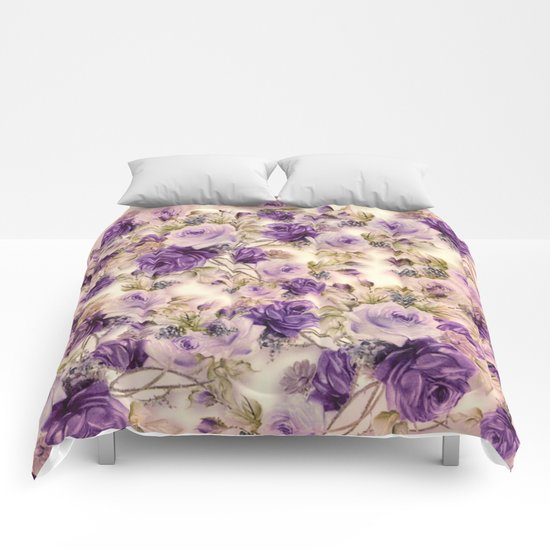 lovely purples roses Comforters