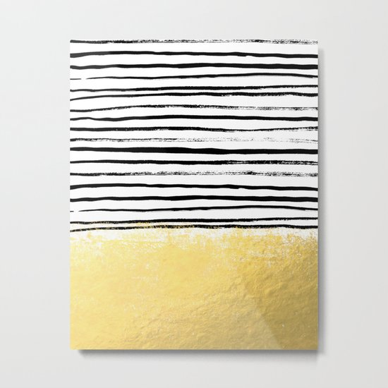 Blaire - Brushed Gold Stripes - black and gold, gold trend, gold phone case, gold cell case Metal Print