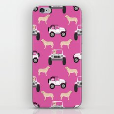 Labrador yellow lab jeep cute pink dog gifts dog lover pet art iPhone & iPod Skin