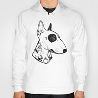 bull terrier Hoodies featuring Bull Terrier dog Tattooed by PaperTigress