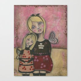 With Brave Wings She Flies, Whimsy Folk Art Painting Canvas Print