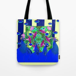 BLUE PEACOCKS & MORNING GLORIES PARALLEL YELLOW PATTERNED ART Tote Bag