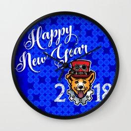 Happy New Year 2018 Yellow Dog Wall Clock