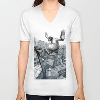 furry V-neck T-shirts featuring Furry Fingers by Jason Tirendi
