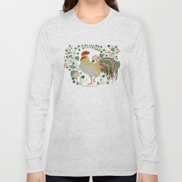 Rooster and morning glory Long Sleeve T-shirt