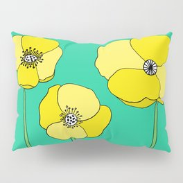 Bright Yellow and Mint Green Poppies Growing and Thriving Pillow Sham