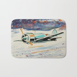 Airplane lost in the snow Bath Mat