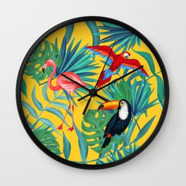 tropical yellow Wall Clock