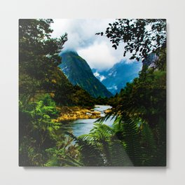 Fjord through the ferns - Milford Sound, New Zealand Metal Print