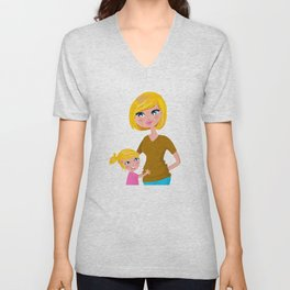 Stylish Mom with Kid : original Illustration in shop Unisex V-Neck