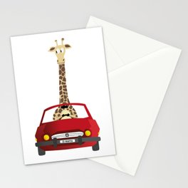 Giraffe in a Car Stationery Cards