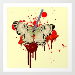 HUMOROUS SURREAL NAILED BLEEDING VAMPIRE BUTTERFLY Art Print