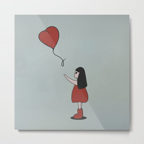 Girl with a Heart-Shaped Balloon Metal Print