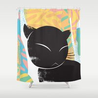 memphis Shower Curtains featuring Memphis Cat by kelsosullivan
