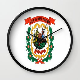 flag west virginia,america,us,south,Mountain, Virginian,Charleston,Huntington,Morgantown,Parkersburg Wall Clock