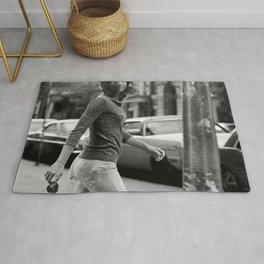 Jackie Kennedy Onassis paparazzi photo, windblown Jackie, vintage photo, photography, girl power, picture, print, fine art photo Rug