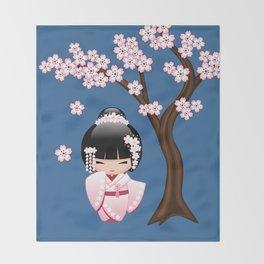Japanese Bride Kokeshi Doll Throw Blanket