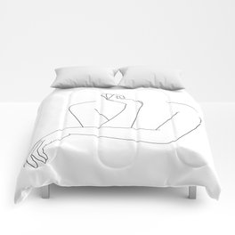 Minimal line drawing of woman's folded arms - Anna Comforters
