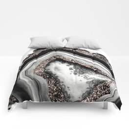 Agate Rose Gold Glitter Glam #4 #gem #decor #art #society6 Comforters