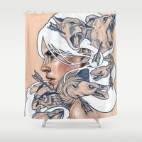 oil Shower Curtains featuring The Hunt by Wendy Ortiz