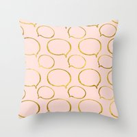 gold foil Throw Pillows featuring Pink Gold Foil 01 by Aloke Design