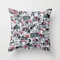 Danish small town pattern Throw Pillow