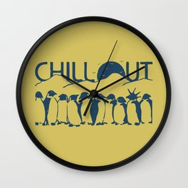 Chill Out Funny Penguin Wall Clock