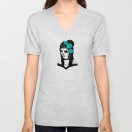 Day of the Dead Sugar Skull Girl with Teal Blue Roses Unisex V-Neck