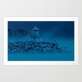 Pier and lighthouse Art Print