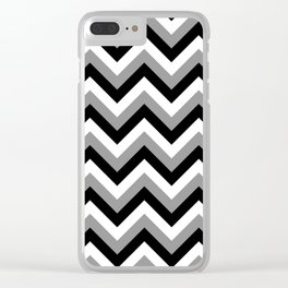 Gray White and Black Chevrons Clear iPhone Case