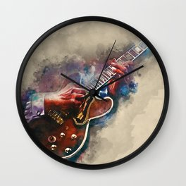 BB King's electric guitar, guitar wall art, studio decor, music room decor, gift for guitarist Wall Clock