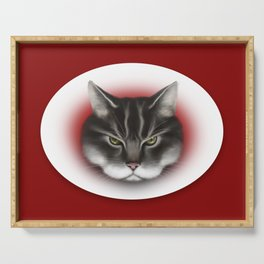 sinister kitty Serving Tray