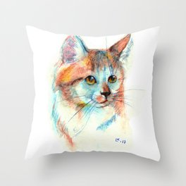 Bicolor cat portrait Throw Pillow
