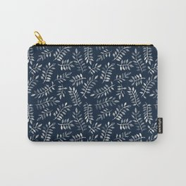 White Leaves on Navy - a hand painted pattern Carry-All Pouch