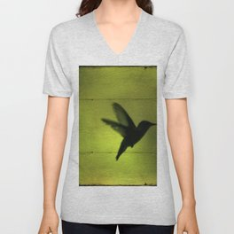Neon Green Hummingbird behind the Blinds by CheyAnne Sexton Unisex V-Neck