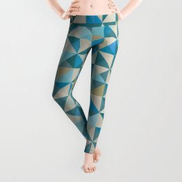 Blue Patchwork Quilt Leggings