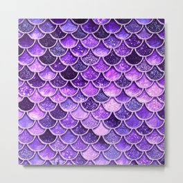 Pantone Ultra Violet Glitter Ombre Mermaid Scales Pattern Metal Print