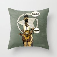 bombs away Throw Pillows featuring Bombs Away  by Greathouse