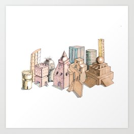 the city painted in pastel colours . illustration . art Art Print
