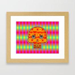Colorful Robot Skull On A Rainbow Background Framed Art Print