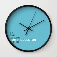 tom hiddleston Wall Clocks featuring Be the person Tom Hiddleston thinks you are by ElectricShotgun
