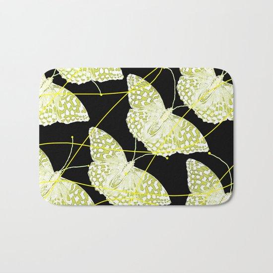 Butterflies on black background Bath Mat