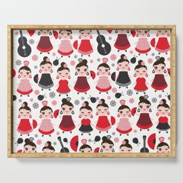 pattern spanish Woman flamenco dancer. Kawaii cute face with pink cheeks and winking eyes. Serving Tray