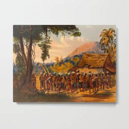 Caribi Village Anai Illustrations Of Guyana South America Natural Scenes Hand Drawn Metal Print