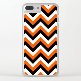 Orange Black and White Chevrons Clear iPhone Case