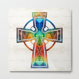 Colorful Celtic Cross by Sharon Cummings Metal Print