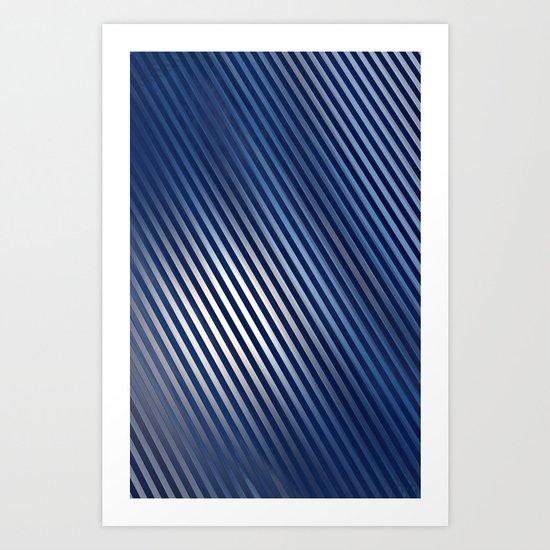 Diagonal Lines in Steel Blue Art Print